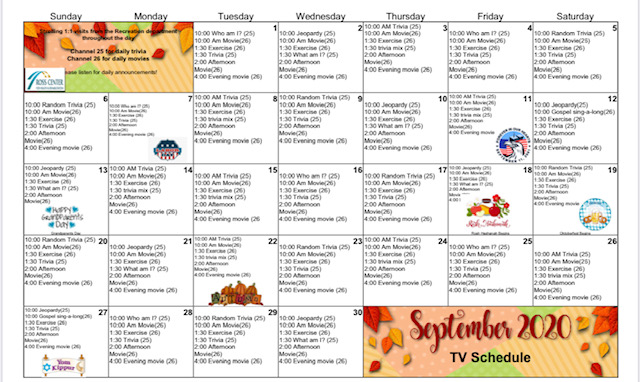 September 2020 Event Calendar