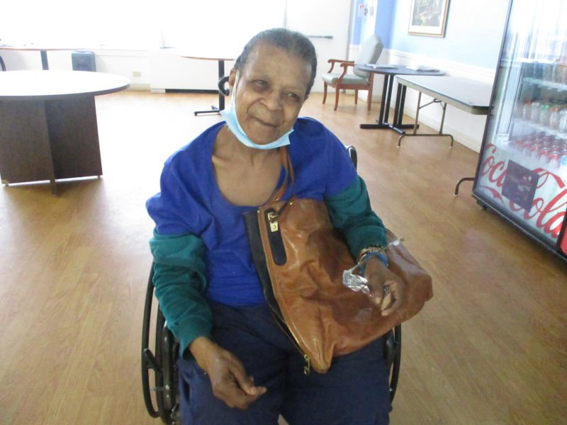 Woman with brown purse