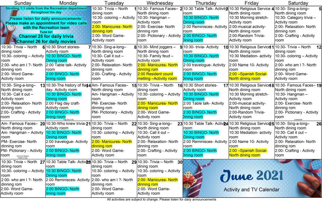 Ross Healthcare June 2021 Event Calendar