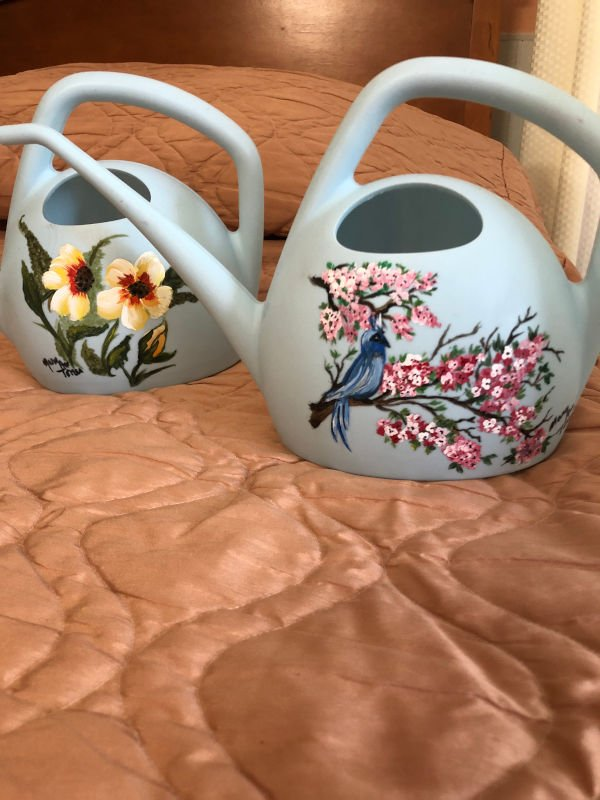Two painted watering cans