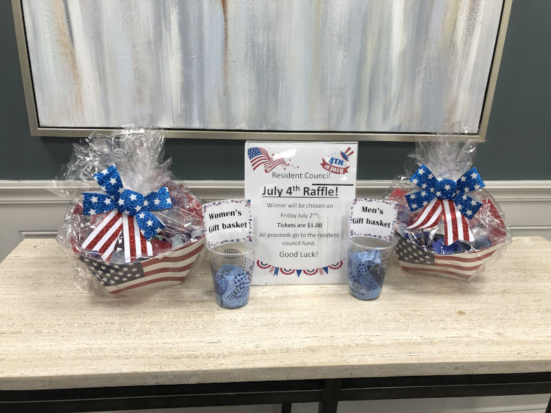 4th of July Raffle setup with two baskets