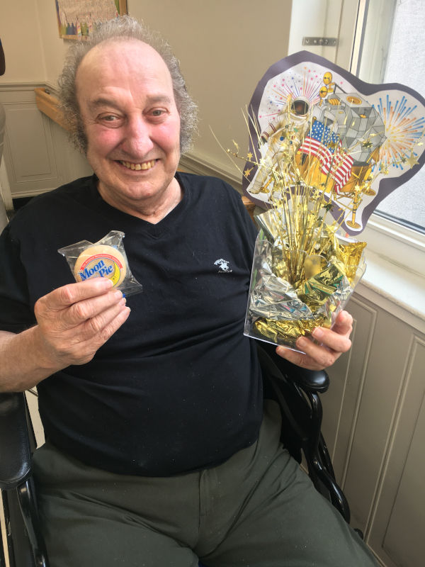 Man holding Moon Pie for National Moon Day