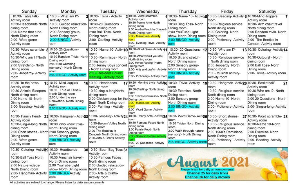 Ross Health Care August 2021 Event Calendar